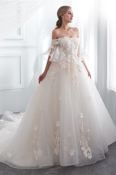 Off Shoulder Light Champagne Bell Sleeve Tulle Wedding Dress with Applique P7151