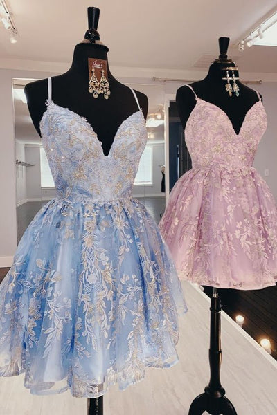Lace-Up Sequined Sky Blue Homecoming Dress with Flowers P7156