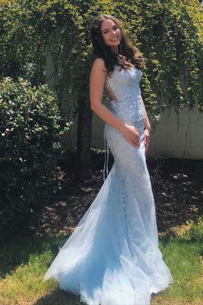 Mermaid Light Blue Prom Dress with Appliques P7168