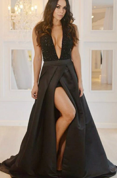 Black Prom Dress with Slit, Evening Dress ,Winter Formal Dress, Pageant Dance Dresses, Graduation School Party Gown P7186