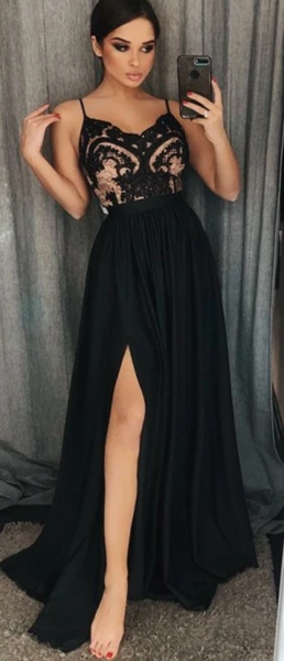 Black Prom Dress with Slit, Evening Dress ,Winter Formal Dress, Pageant Dance Dresses, Graduation School Party Gown P7187