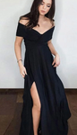Black Prom Dress with Slit,Evening Dress ,Winter Formal Dress, Pageant Dance Dresses, Graduation School Party Gown P7188