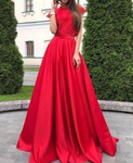 Elegant O-Neck A-Line Dresses, Evening Dress Prom Gowns, Formal Women Dress,Red Prom Dress P7196