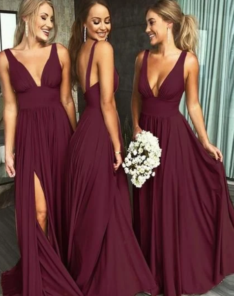 Affordable Bridesmaid Dresses Slit Skirt, Bridesmaid Dress, Wedding Party Dress, Dresses For Wedding P7209