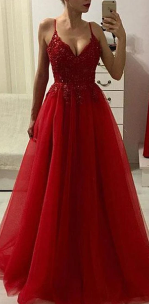 Red Prom Dress New Style, Evening Dress ,Winter Formal Dress, Pageant Dance Dresses, Graduation School Party Gown P7214