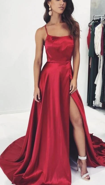 Red Prom Dress High Slit, Evening Dress, Dance Dress, Graduation School Party Gown P7216