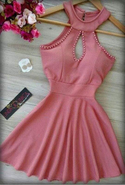 Cute Homecoming Dress,Pretty Graduation dress,Pink Homecoming Dresses,P7248