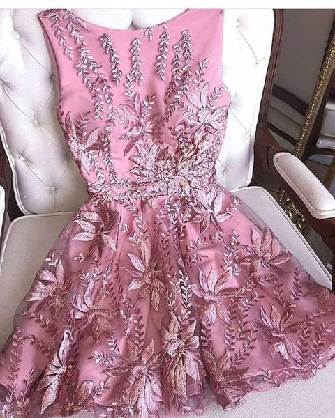 Cute Homecoming Dress,Pretty Graduation dress,Pink Homecoming Dresses,P7256