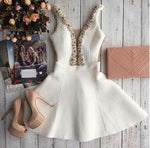 Cute Homecoming Dress,Pretty Graduation dress,White Homecoming Dresses,P7274