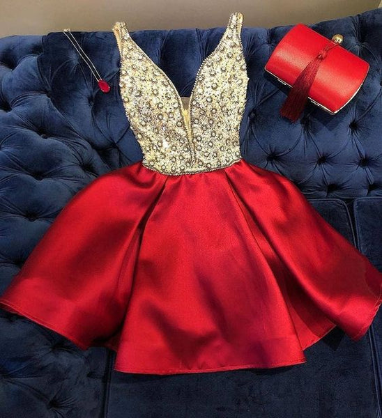 Cute Homecoming Dress,Pretty Graduation dress,Red Homecoming Dresses P7294