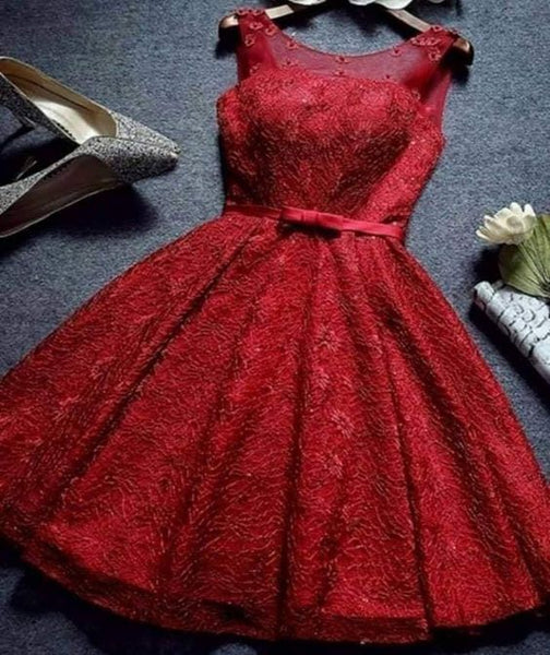 Cute Homecoming Dress,Pretty Graduation dress,Red Homecoming Dresses P7297