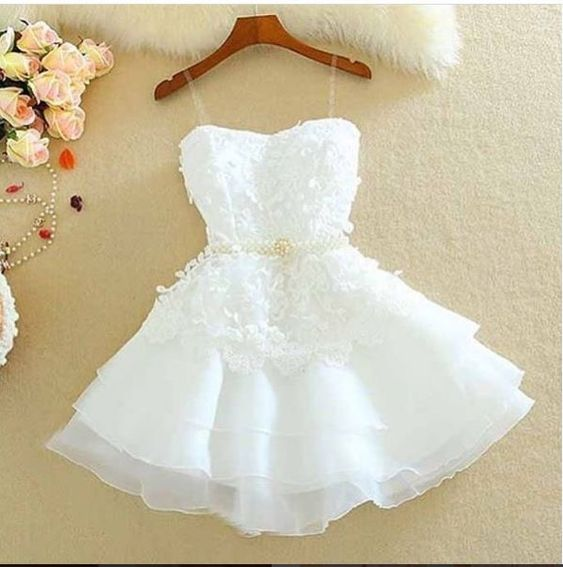 Cute Homecoming Dress,Pretty Graduation dress,White Homecoming Dresses P7302
