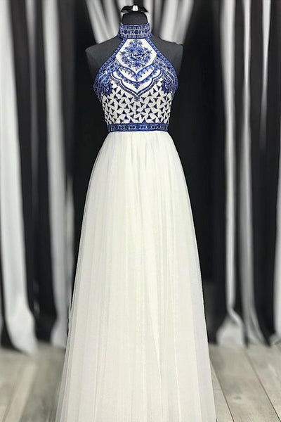 Princess High Neck White Prom Dress with Blue Embroidery, Pretty Prom Dresses P7318