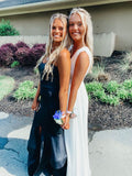 White Prom Dresses,Black Long Evening Dress Pretty Prom Dresses P7419