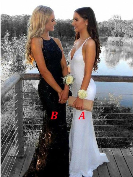 White Prom Dresses,Black Evening Dress Pretty Prom Dresses P7533