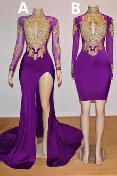 Gold Beads Appliques Long Sleeve Purple Prom Dresses P7747