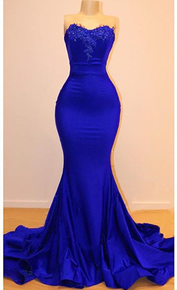 Strapless Open Back Royal Blue Prom Dress Cheap | Mermaid Lace Applqiues Sexy Formal Dresses P7749