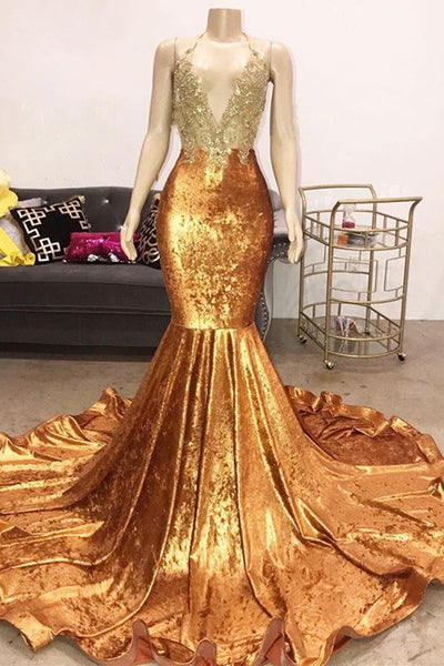 Luxury Beads Appliques Gold Prom Dresses| Mermaid Open Back Sexy Evening Gowns Cheap P7751