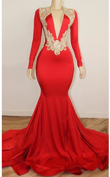 Black Girl Prom Dresses Long Sleeve Red Prom Dresses with Beads Crystals | V-neck Open Back Sexy Evening Gowns Cheap P7755
