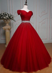 Off Shoulder Red Prom Dresses,Ball Gown ,Cheap Prom Dress,Beading Prom Dress,Red Tulle Evening Dress,Sexy Off Shoulder Sleeves Red Graduation Dress P7759