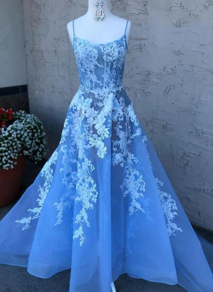 Sky Blue V Neck Beaded Long Prom Dresses ,Pearls Tulle Cute Prom Dress ,Evening Dresses P7777