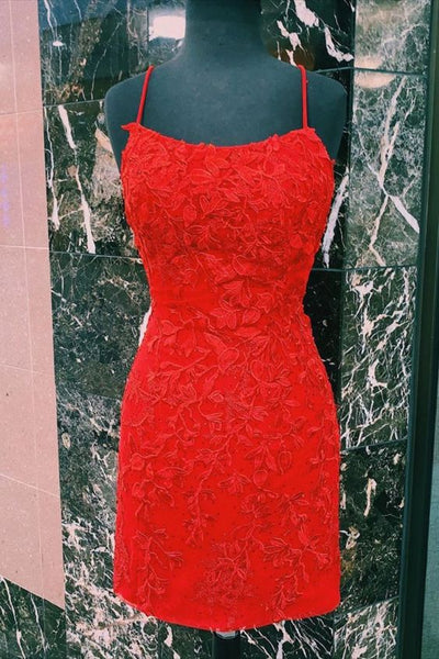 tight red lace dress for juniors | straps fitted red homecoming dress Christmas Dress P7823