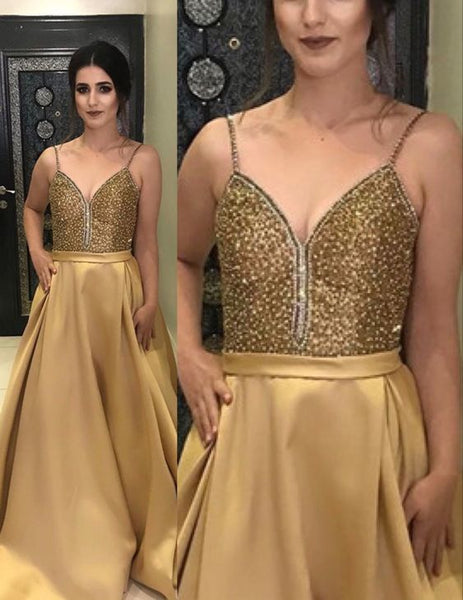 Stunning Gold Prom Dresses 2021 Long Satin Formal Gown beaded top with straps P8161