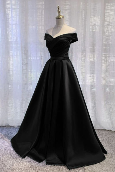 Long Black Prom Dresses 2021 Satin Off The Shoulder Evening Gown P8171