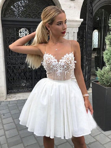 A Line V Neck Short White Lace Homecoming Dresses with Straps, White Lace Formal Graduation Dresses P8382