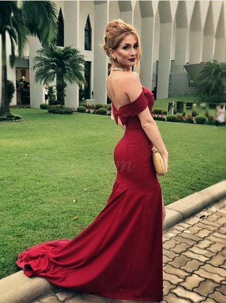 Mermaid Off-the-Shoulder Sweep Train Burgundy Prom Dress with Ruffles P8406