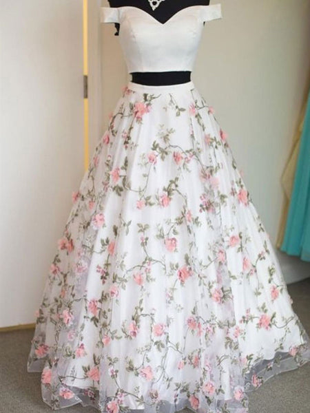 Custom Made White Prom Dresses with 3D Flower, 2 Pieces Flower Formal Dresses KS1250
