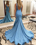 Long Sexy Prom Dresses Mermaid African Party Light Blue Prom Dress Gown Women PD1650