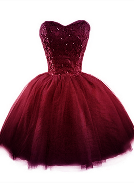Wine Red Tulle with Lace Homecoming Dresses Short Formal Dress KS6669