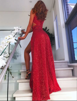 Hot Sexy Red Long Prom Dresses V Neck Sequins Evening Dresses with Split Front 047
