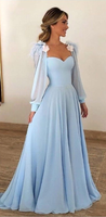 Blue Long Sleeves Sweetheart A Line Long Prom Dresses Blue Evening Dress B67