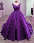 Ball Gown Quinceanera Dresses Sequins Lace V Neck Luxury Prom Dress 1024