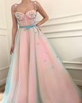 P1229,A-line Straps Pink Prom Dress With Floral Beading Modest Long Prom Dresses Evening Dress