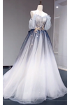 A Line Off the Shoulder Ombre Prom Dress, Long Tulle Prom Dress with Saprkles N2657