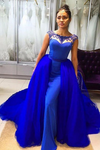 Detachable Skirt Prom Dresses,Royal Blue Prom Dress,Beaded Prom Gown,Mermaid Prom Dresses,Special Occasion Party Gown KS1295