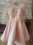 Pink lace round neck short prom dress, pink evening dress KS2813