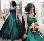 Emerald Green Prom Dress Fashion Prom Dresses Spaghetti Straps Lace Flowers Embroidery Satin Ball Gowns Floor Length Engagement Dress E413