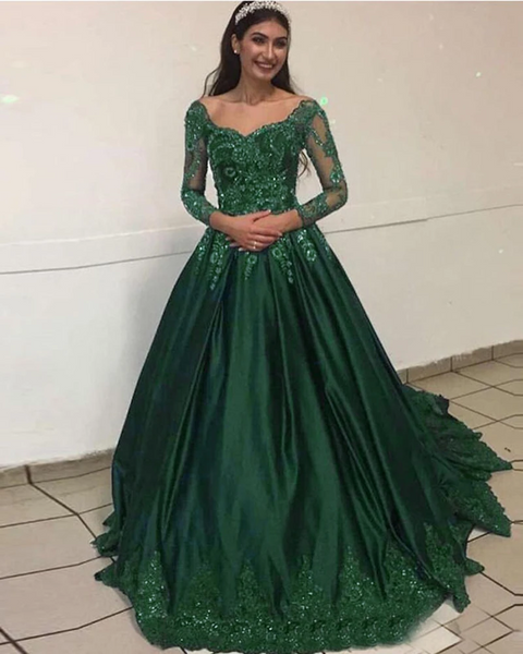 Emerald Green Prom Dress Ball Gown Vintage Formal Colorful Lace Wedding Dress for Engagement with Long Sleeves ks3005