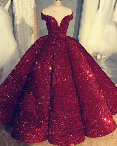 Off the Shoulder Ball Gown Burgundy Sequin Prom Dresses for Women 7731