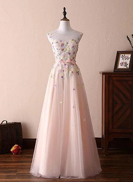 Charming Light Pink Prom Dresses, A Line Round Nec Pink Evening Dresses with Flower KS6092
