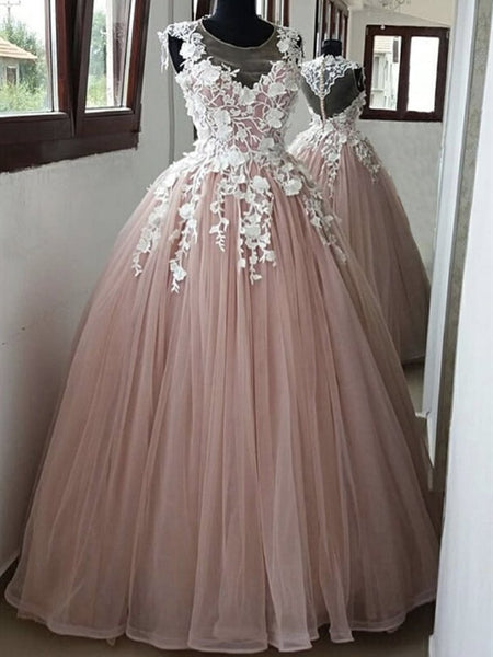 Round Neck Pink Lace Long Prom Dresses, Pink Lace Formal Dresses, Pink Evening Dresses KS6062