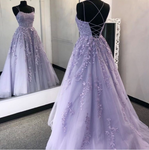 Purple tulle lace long prom dress formal dress S180