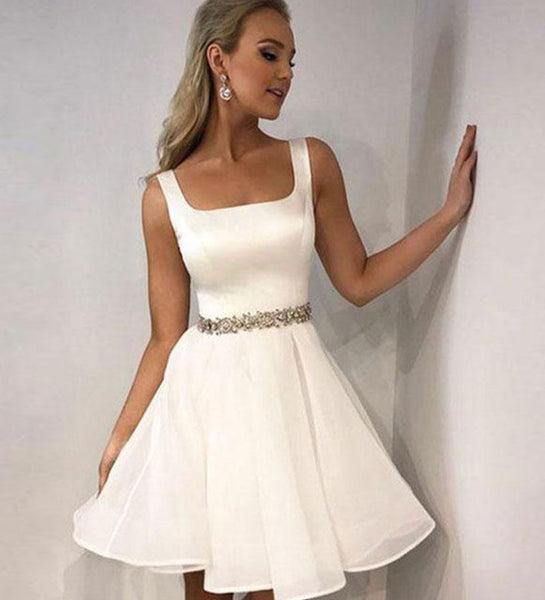 White satin short prom dress, white homecoming dress S229