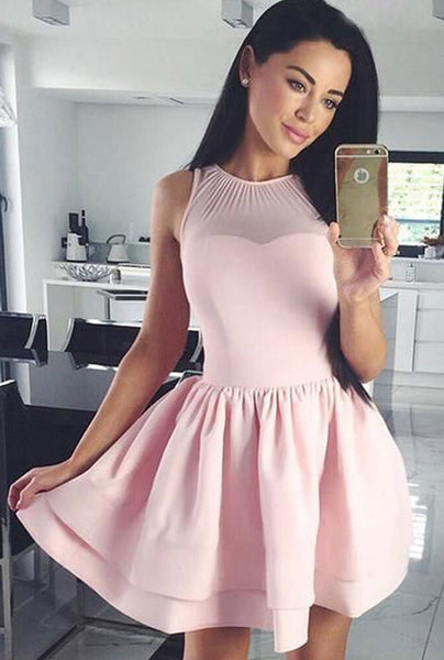 Cute Pink short prom dress, pink homecoming dress S236
