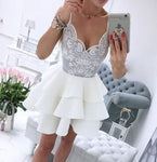 White v neck lace short prom dress, white homecoming dress S238