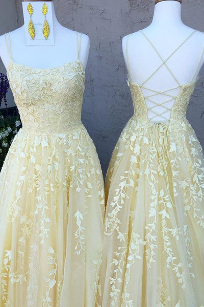 Hot Yellow tulle lace long prom dress party dress S34